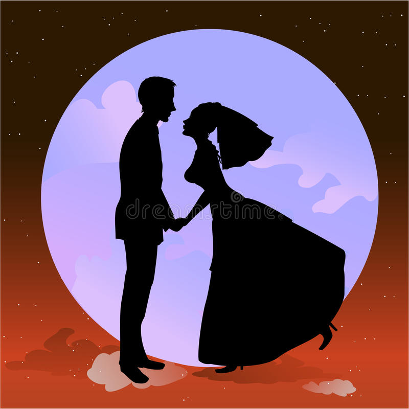 Beautiful groom and bride in romantic night vector illustration
