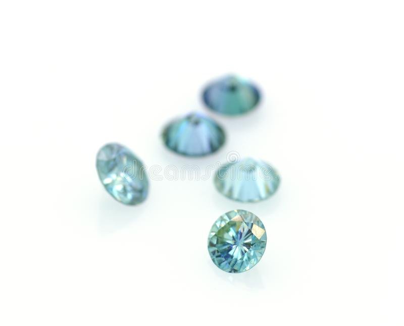 Beautiful group of blue and very bright moissanites. Luxurious stones. Jewelry and gemology royalty free stock photos