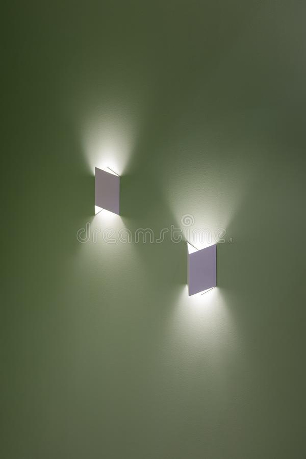 Free Beautiful Group Of Modern Wall Lamp Interior Contemporary Decoration.  LED Lights On Wall Create Shape With Light And Shadow Stock Photo - 156866120