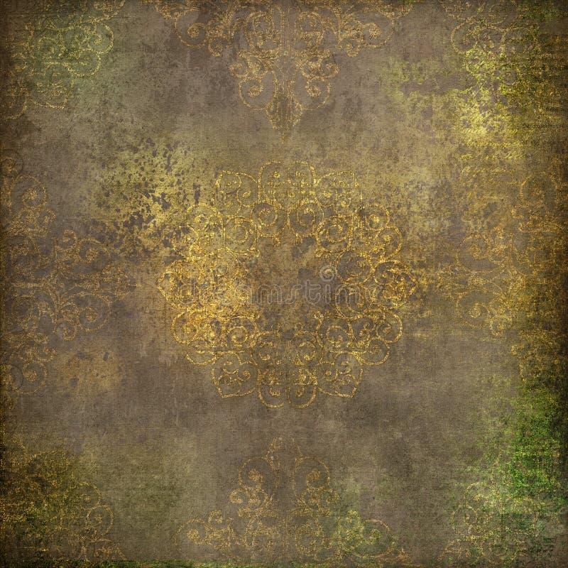 Beautiful grunge mandala background. Digital art grunge background with aged gold mandala royalty free illustration