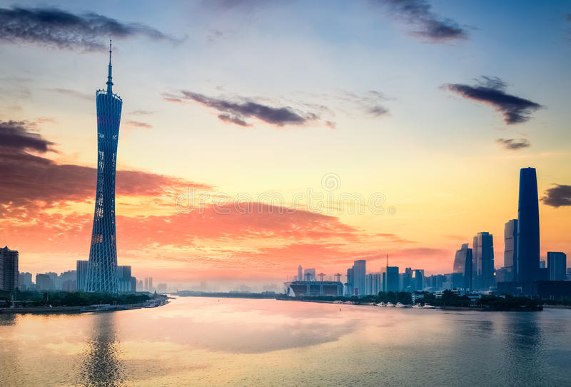 Beautiful guangzhou in sunset. Guangzhou in sunset, city skyline on the pearl river stock photography