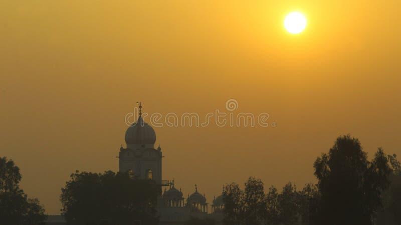 A sikkh tample in sunset. A beautiful gurudwara sikkh tample in sun set stock photography