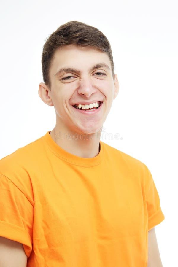 Beautiful guy smiles stock photo