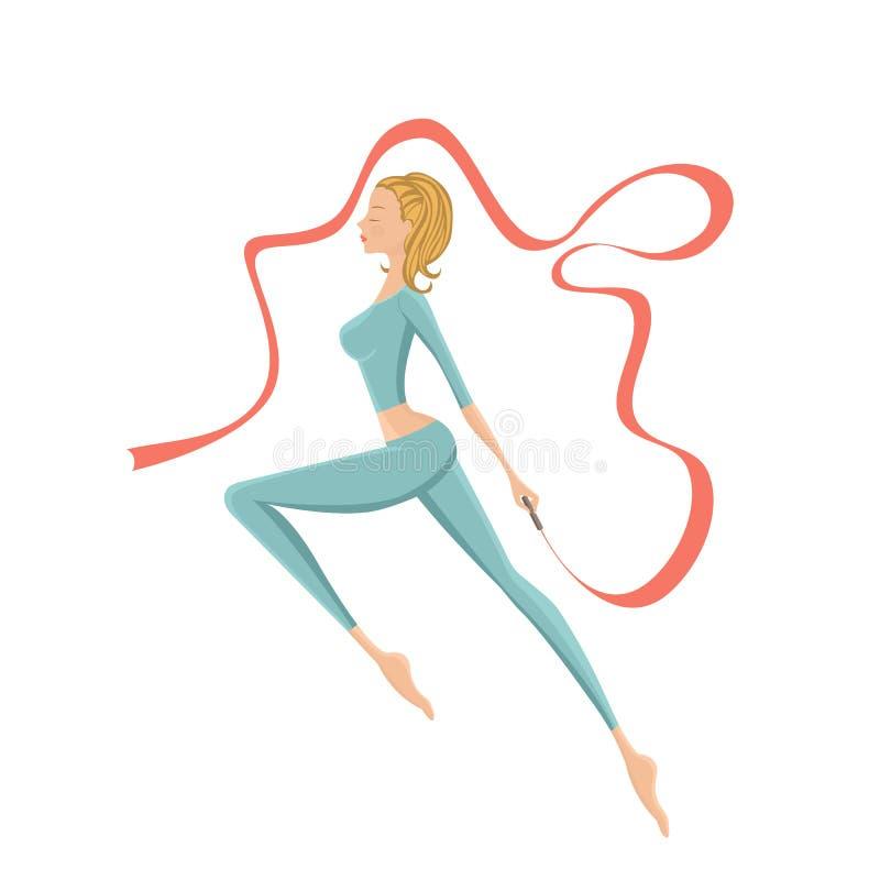 Beautiful gymnastic girl performing with ribbon. Vector illustration royalty free illustration