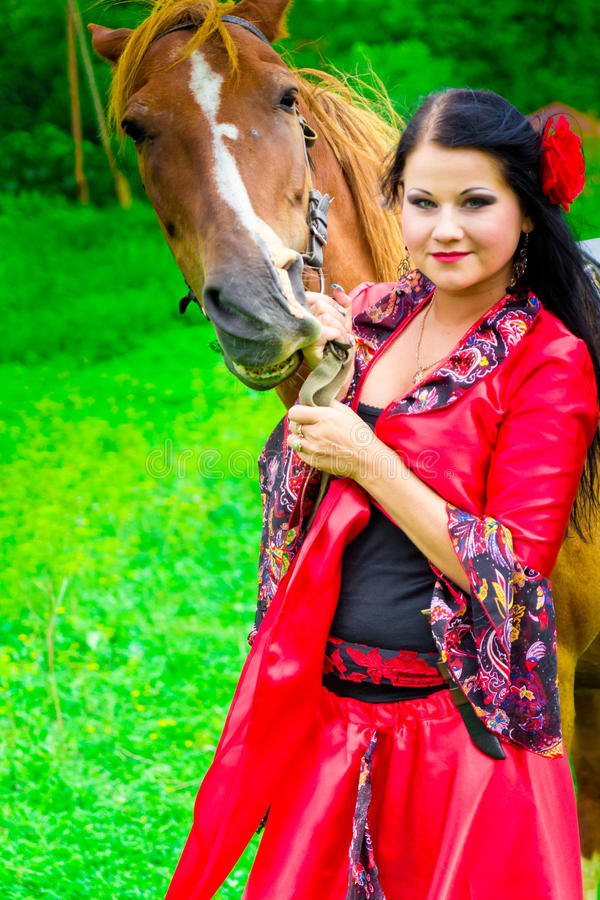 Download Beautiful Gypsy Girl With A Horse Stock Photo - Image: 20967208