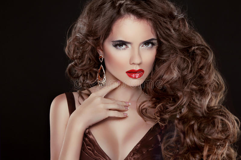 Beautiful hair, Fashion Woman Portrait. Beauty Model Girl with l stock photo