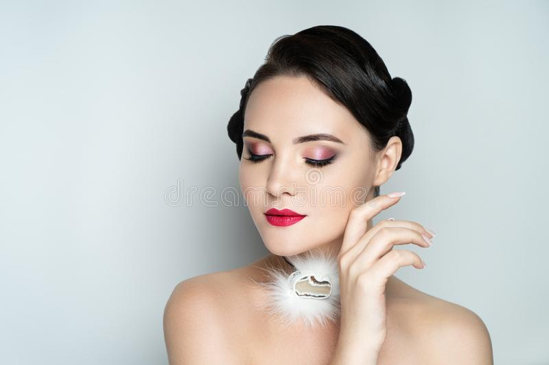 Beautiful model hairstyle makeup manicure stock photography