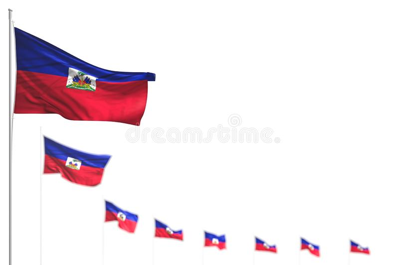 Beautiful Haiti isolated flags placed diagonal, picture with selective focus and space for your text - any celebration flag 3d. Beautiful any celebration flag 3d royalty free illustration
