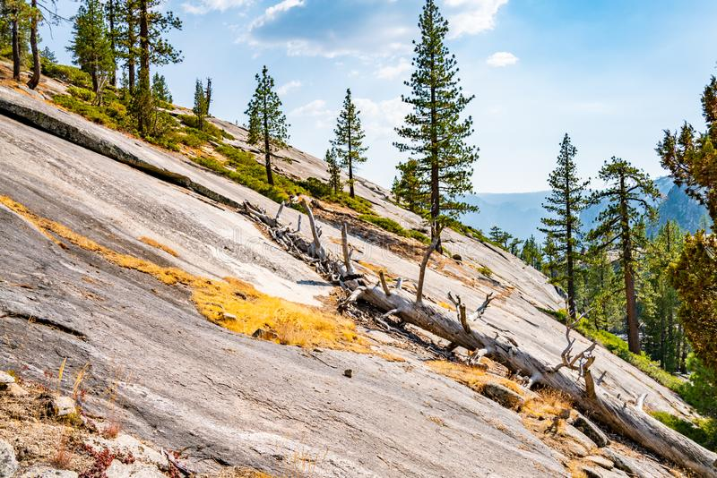 Beautiful half dome cliffs at the Yosemite National Park in USA. royalty free stock images