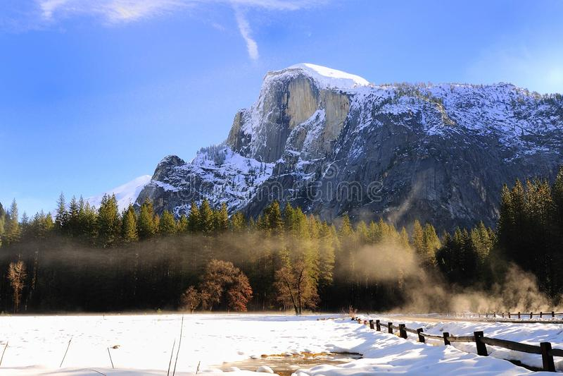 Halfdome Yosemite Valley National Park. Beautiful Halfdome sunrise morning at Yosemite Valley National Park California, USA royalty free stock photo