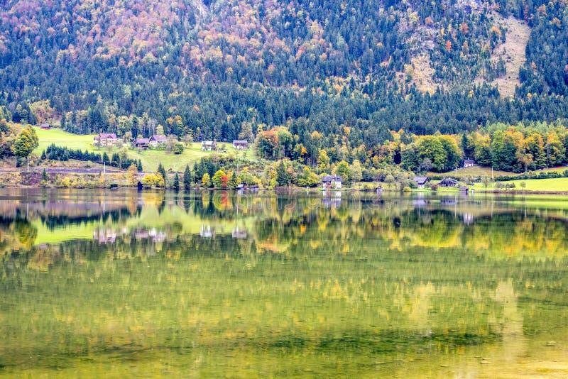 The beautiful Hallstatt lake. At Autumn in Austria royalty free stock image