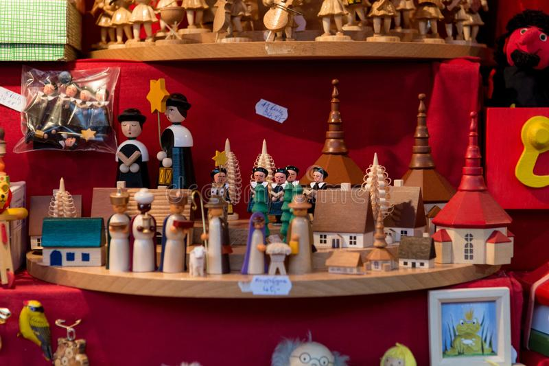 Beautiful hand crafted wooden toys sold at outdoor market. stock images