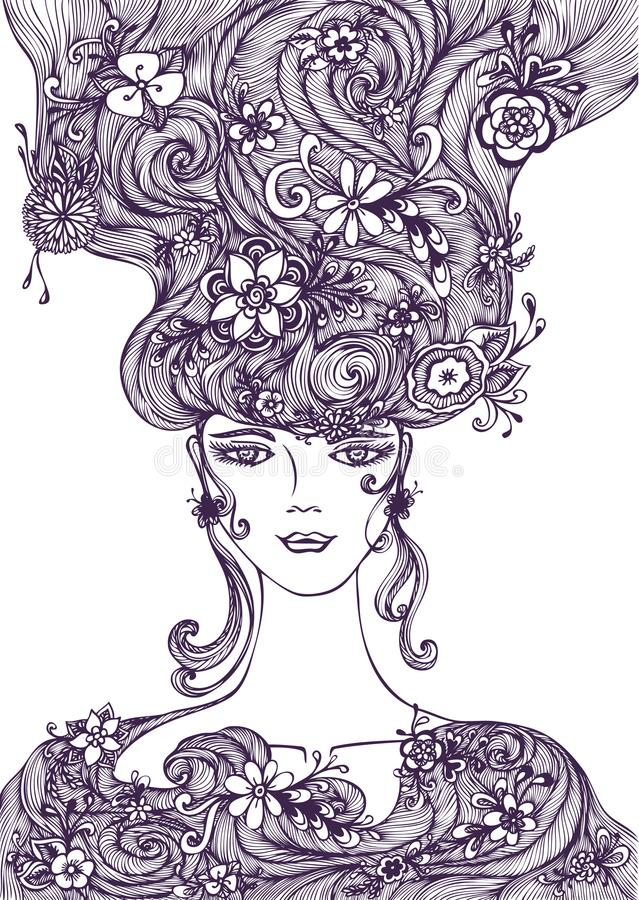 Beautiful Hand draw Girl with flowers hair black on white vector illustration