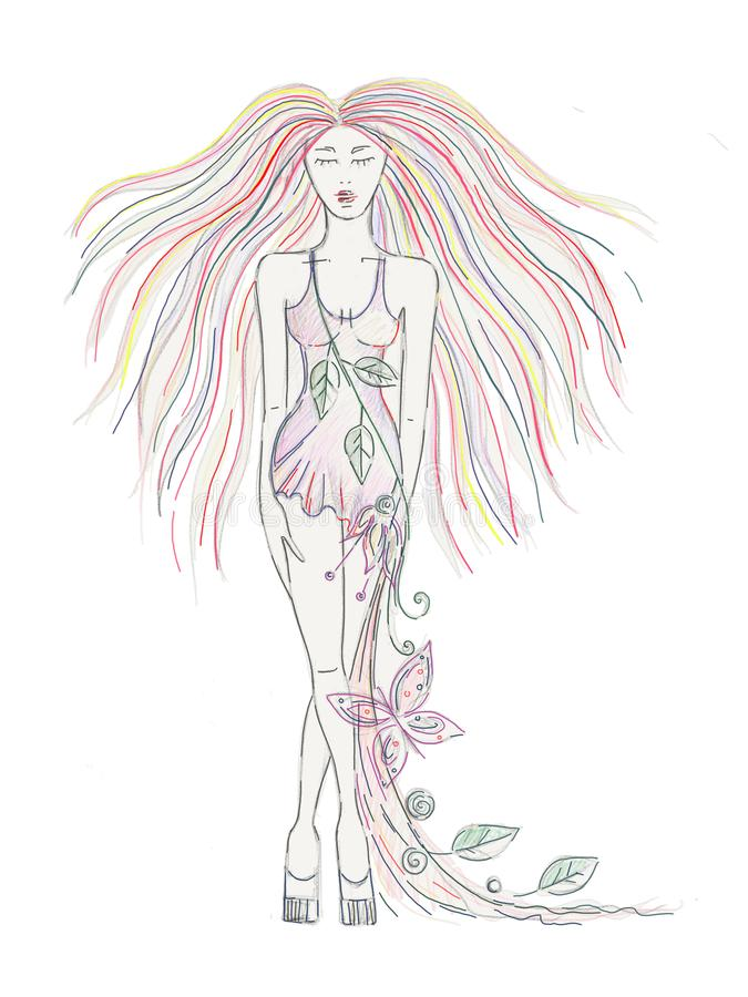 Beautiful hand drawn artistic girl with long hair, dress with flowers, leaves, butterfly. Creative artistic decorative watercolor royalty free illustration