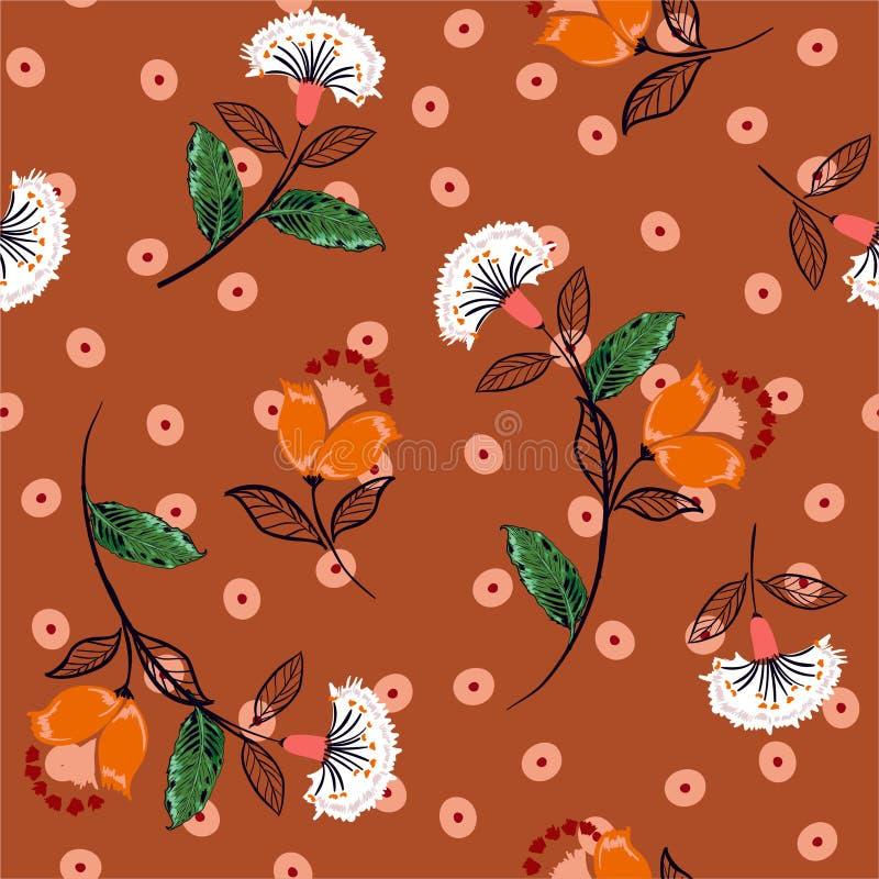 Beautiful hand drawn boho flowers  on irregular polka dots seamless pattern vector ,Design for fashion , fabric, web ,wallpaper, stock illustration