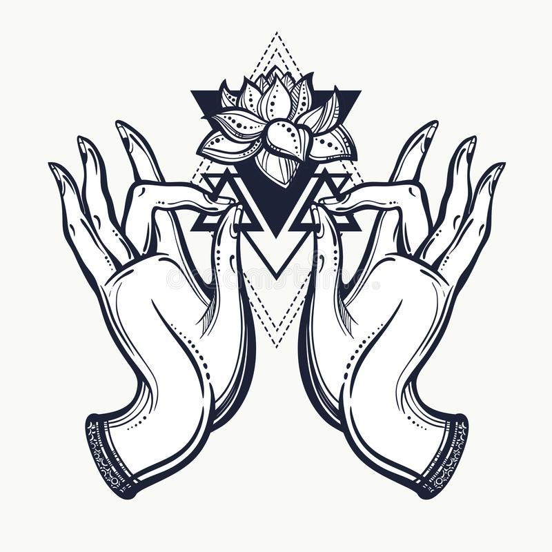 Beautiful Hand-drawn Buddha Hands With Lotus Flower And ...