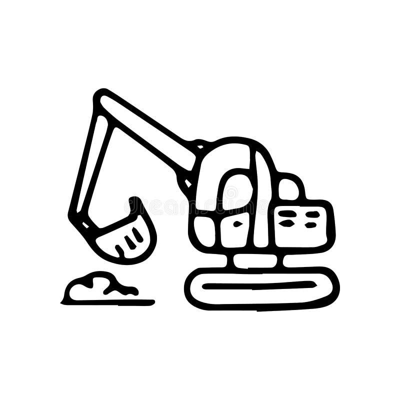 Beautiful hand drawn fashion excavator icon. Hand drawn black sketch. Sign / symbol / doodle. Isolated on white background. Flat. Design. Vector illustration royalty free illustration