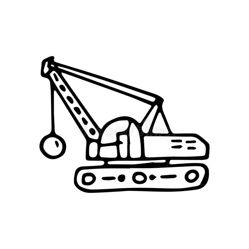 Beautiful hand drawn fashion excavator icon. Hand drawn black sketch. Sign / symbol / doodle. Isolated on white background. Flat. Design. Vector illustration vector illustration
