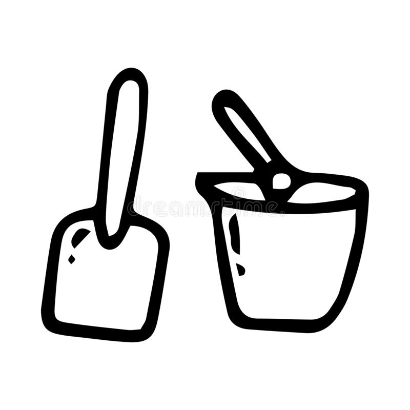 Beautiful hand drawn fashion paddle and bucket toy icon. Hand drawn black sketch.   Isolated on white background. Flat design. Vector illustration, concept stock illustration