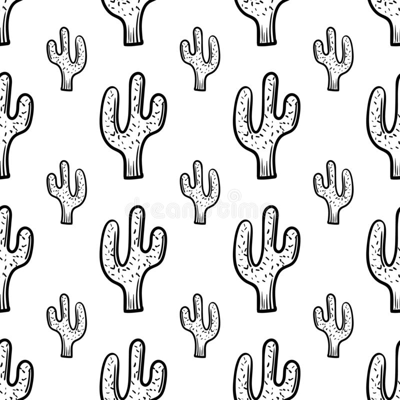 Beautiful hand drawn fashion seamless pattern cactus icon. Hand drawn black sketch. Sign / symbol / doodle. Isolated on white vector illustration