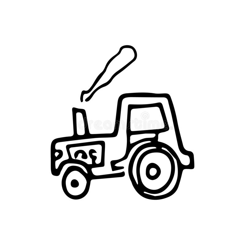 Beautiful hand drawn fashion tractor icon. Hand drawn black sketch. Sign / symbol / doodle. Isolated on white background. Flat royalty free illustration