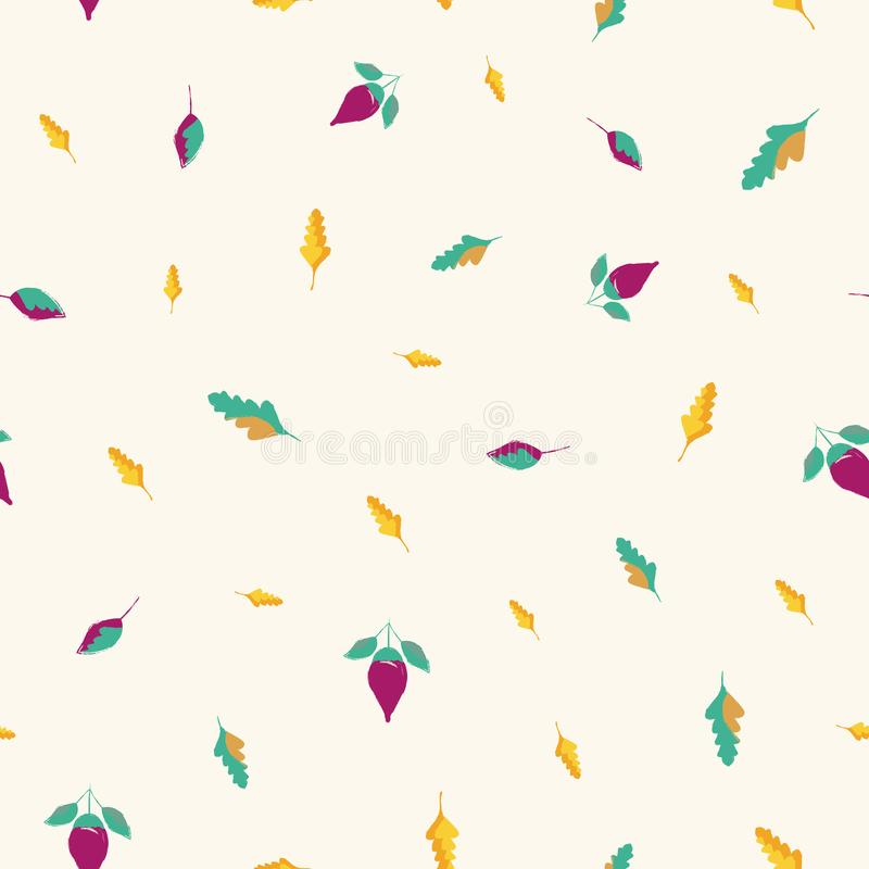 Beautiful hand drawn flowers and leaves in gold, blue and purple. Seamless vector pattern on cream background. Great for stock illustration