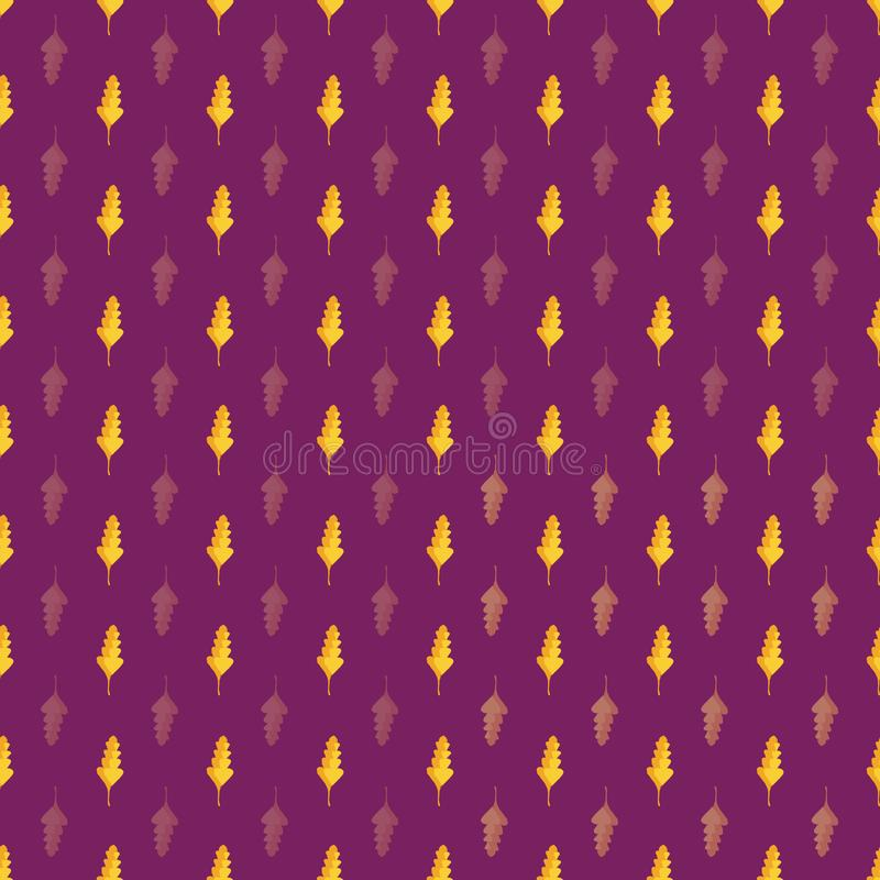 Beautiful hand drawn gold and orange oak leaves in geometric design. Seamless vector pattern on purple background. Great royalty free illustration