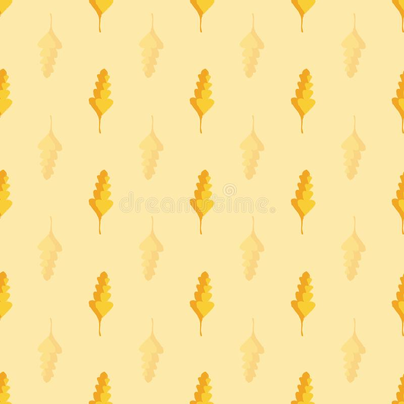 Beautiful hand drawn gold and orange oak leaves in geometric design. Seamless vector pattern on warm yellow background vector illustration