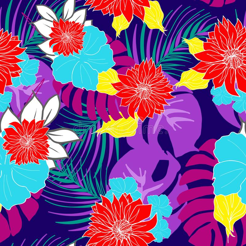 Beautiful hand drawn hawaiian tropical flowers repeated pattern vector stock illustration