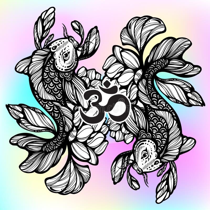 Beautiful hand-drawn oriental illustration of Koi carp fish with Lotus flower around. High-detailed graphic linework symbol. stock illustration