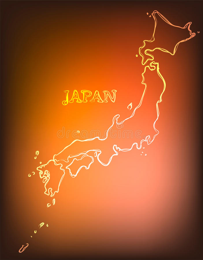 Beautiful hand drawn outline map of Japan, vector illustration stock illustration