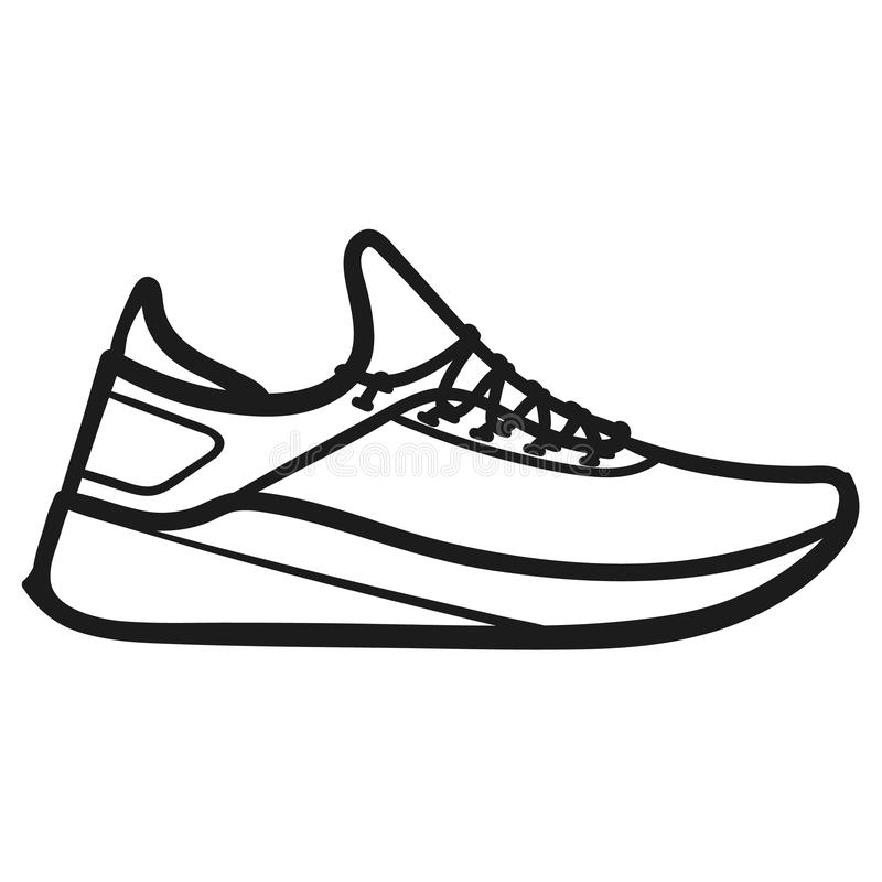 Men`s running shoes outlined icon in white background. Beautiful hand-drawn outlined icon of a running sneaker in white background stock illustration