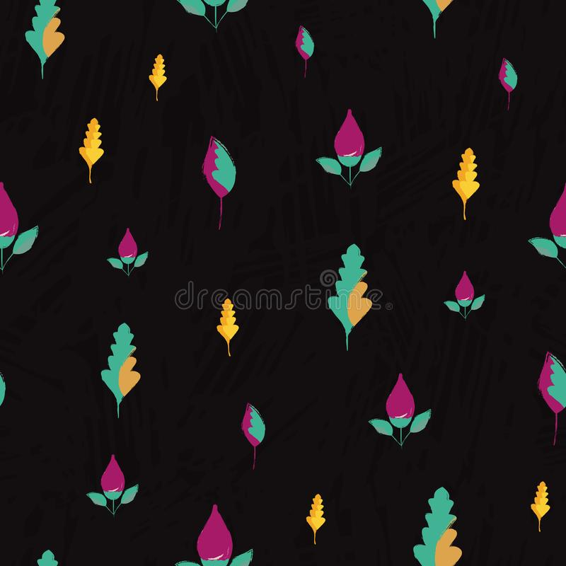 Beautiful hand drawn purple flowers and golden blue leaves. Seamless vector pattern on subtle slate textured background royalty free illustration