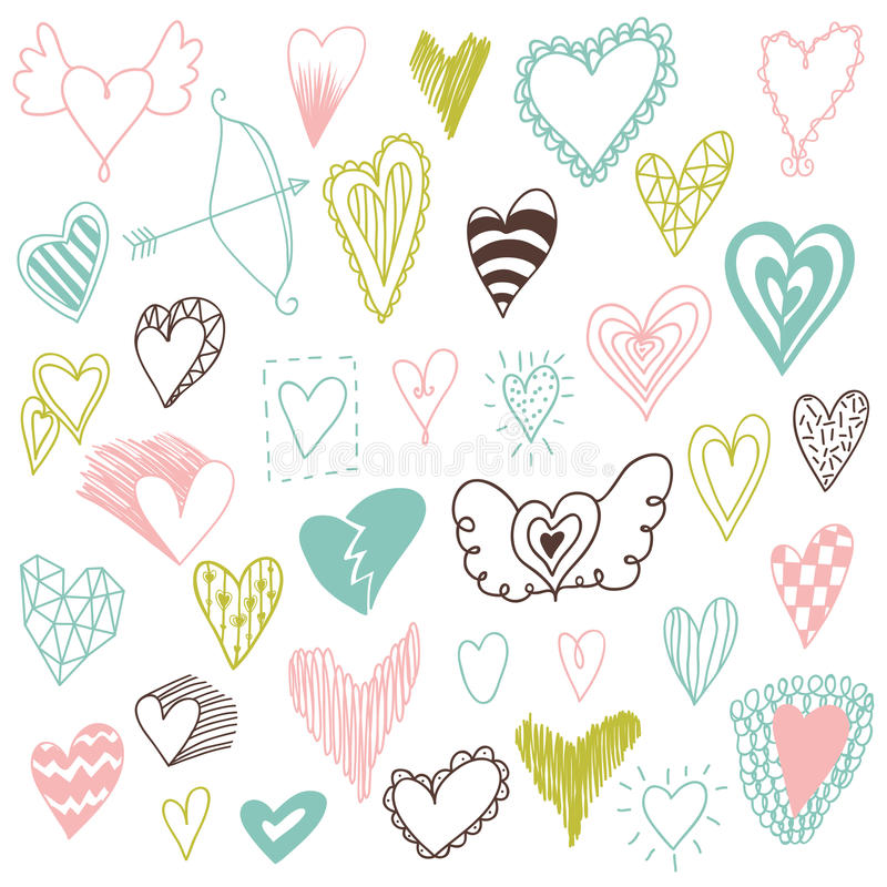 Beautiful hand drawn set of different hearts. Doddle style. Set of valentine hearts for your design royalty free illustration