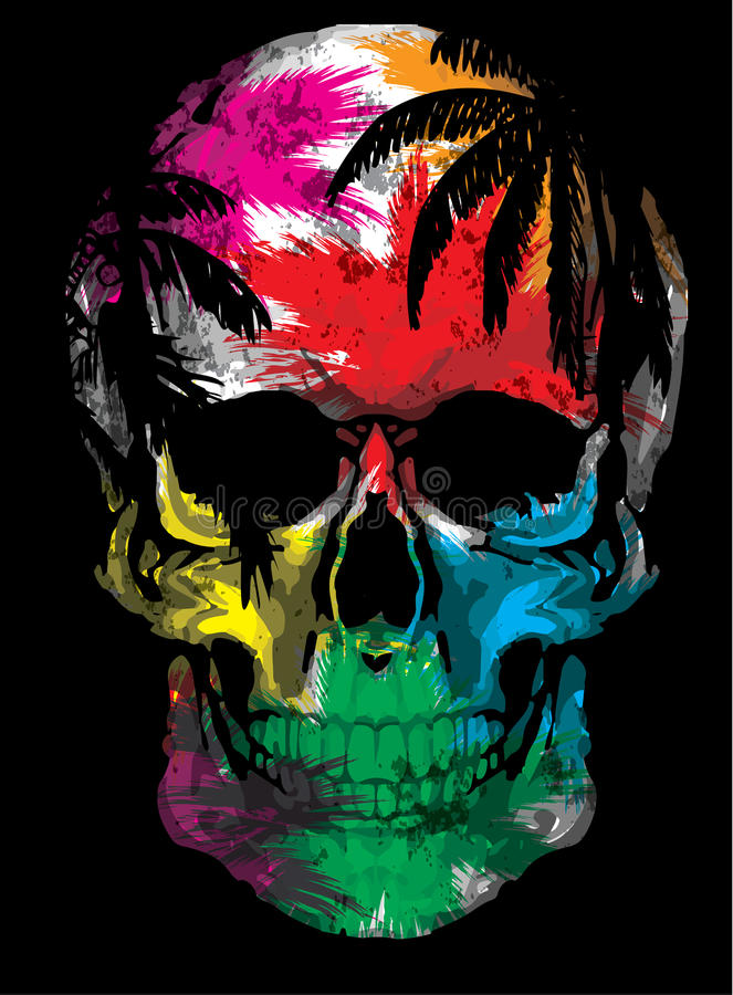 Beautiful hand drawn sketch illustration the skull on the watercolor background stock illustration
