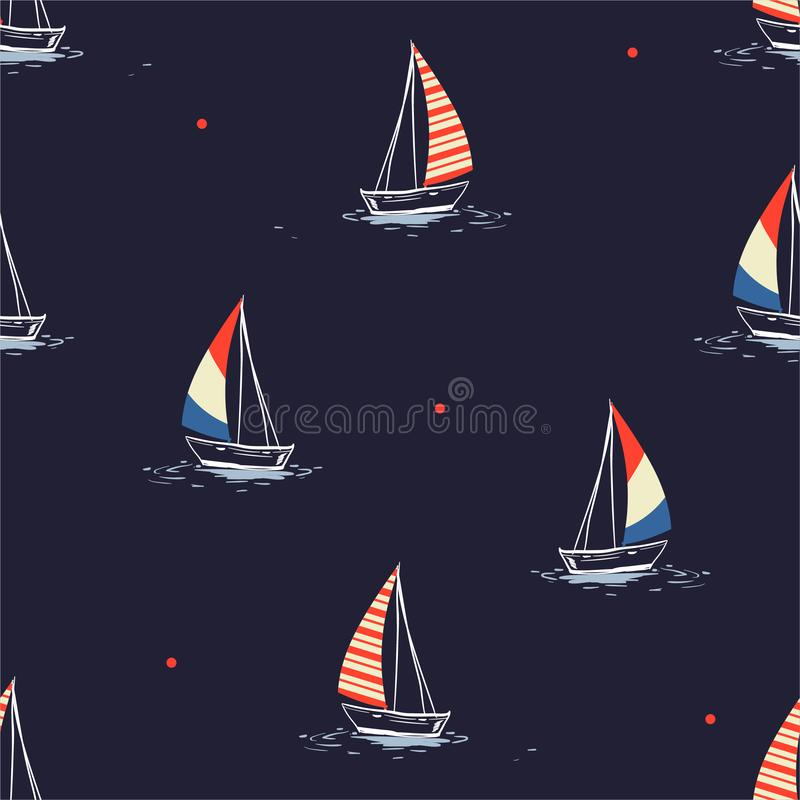 Beautiful hand drawn summer beach wind surfing illustration in the ocean mixed with red polka dots  seamless pattern on vector vector illustration