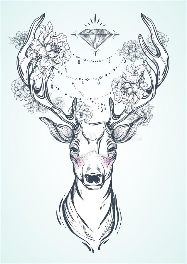 Beautiful hand-drawn tribal style deer. Vector deer head decorated with peony flowers and diamond beads. Spiritual art, yoga, boho vector illustration