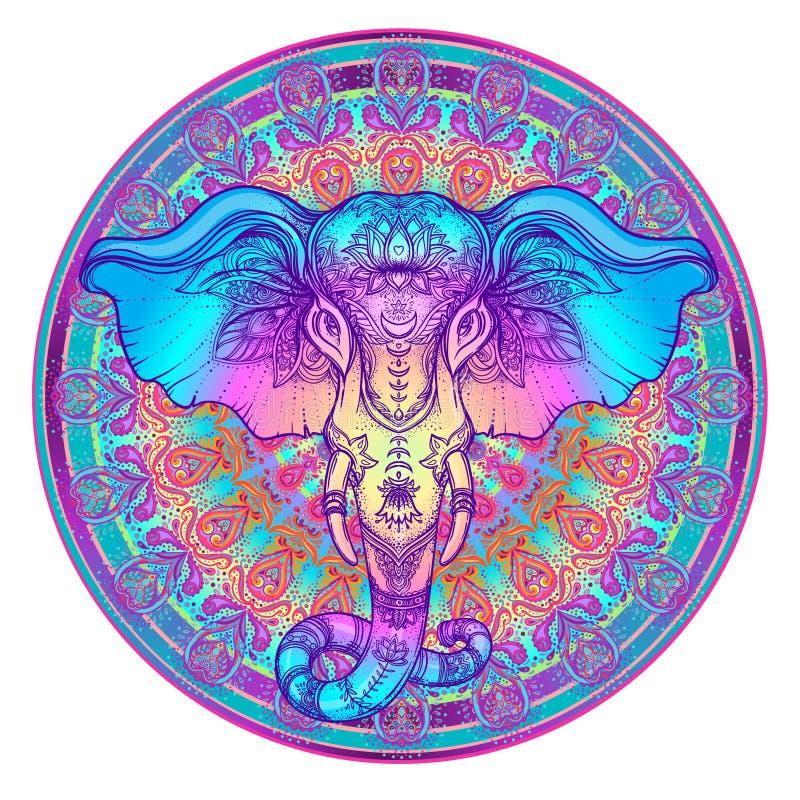 Beautiful hand-drawn tribal style elephant over mandala. Colorful design with boho pattern, psychedelic ornaments. Ethnic stock illustration