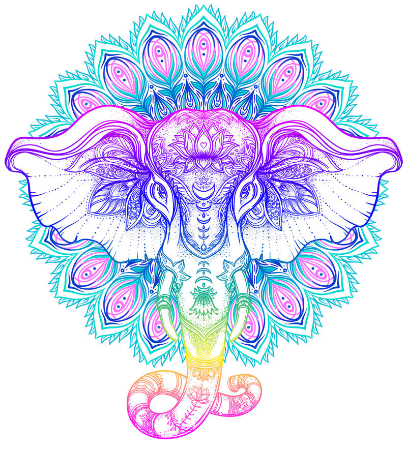 Beautiful hand-drawn tribal style elephant over mandala. Colorful design with boho pattern, psychedelic ornaments. Ethnic vector illustration