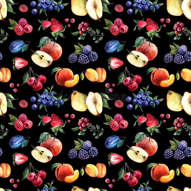 Beautiful hand drawn watercolor seamless pattern berries and fruits stock image