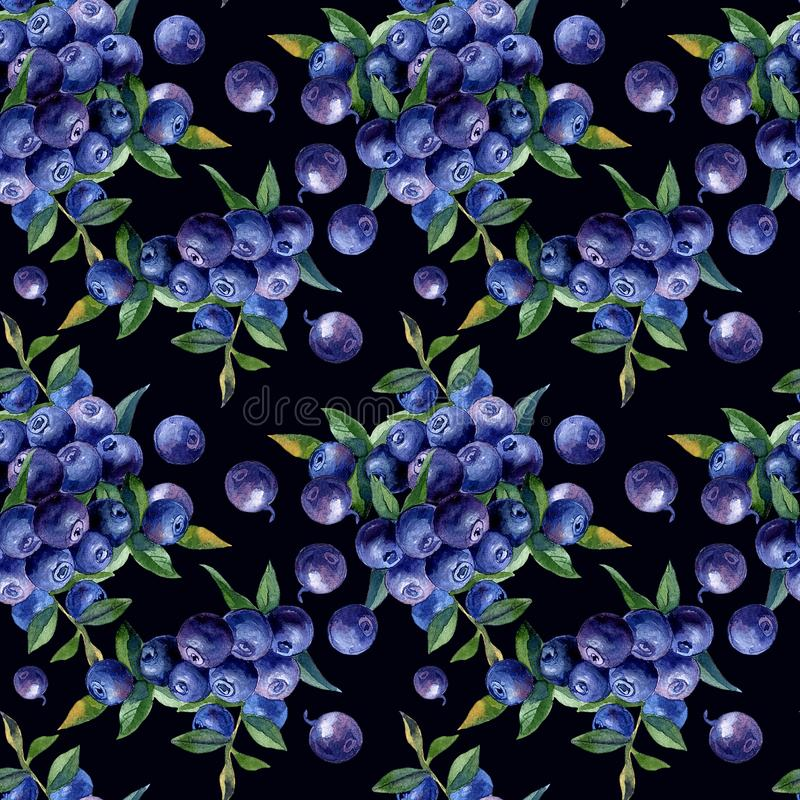 Hand painted watercolor seamless pattern berries and fruits royalty free stock photo