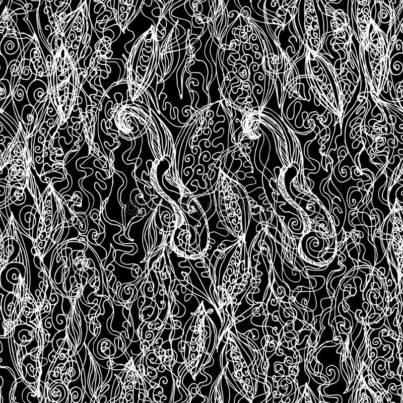 Beautiful Hand drawn wave seamless pattern isolated on black background white contour sketch modern abstract card ornament, banner royalty free illustration