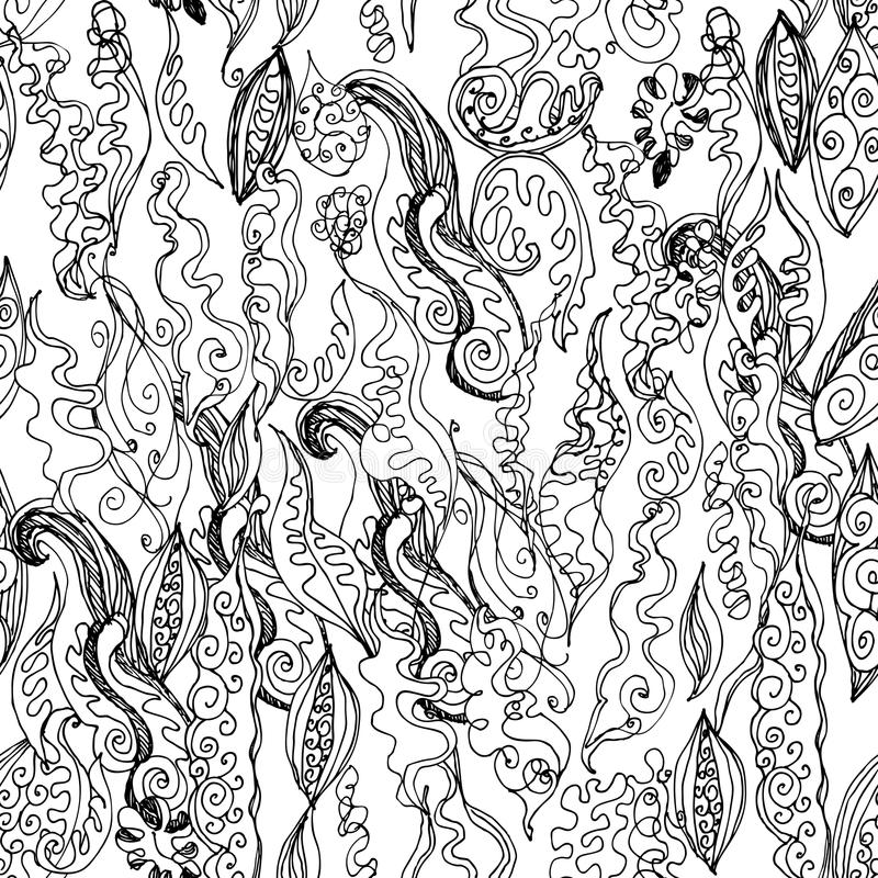 Beautiful Hand drawn wave seamless pattern isolated on white background black contour sketch modern abstract card ornament, banner royalty free illustration