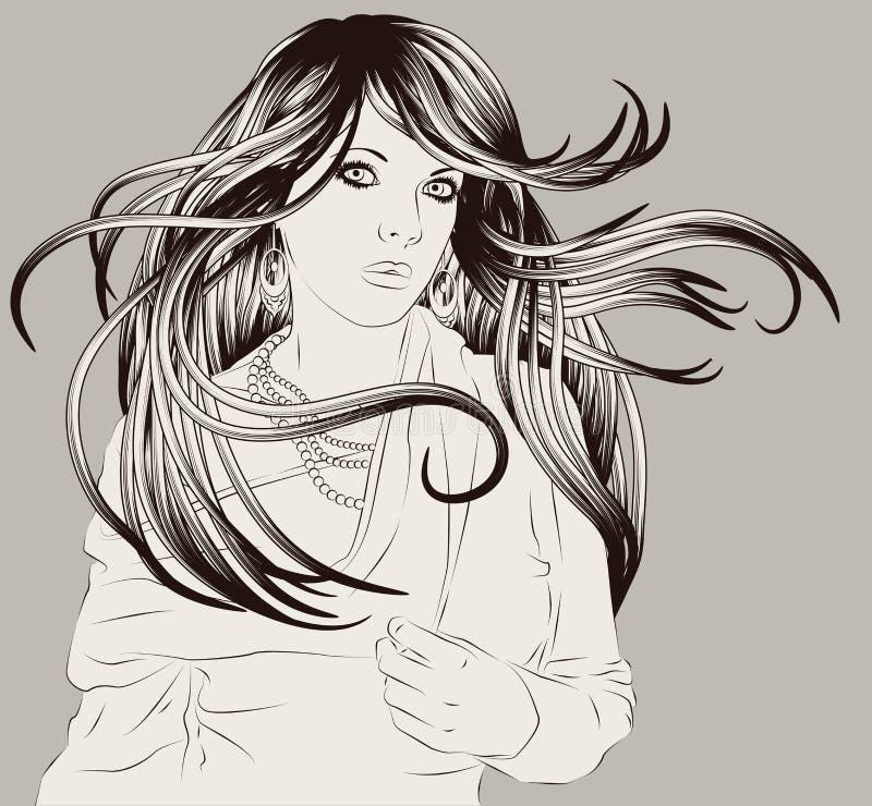 Beautiful hand drawn woman fashion illustration royalty free illustration