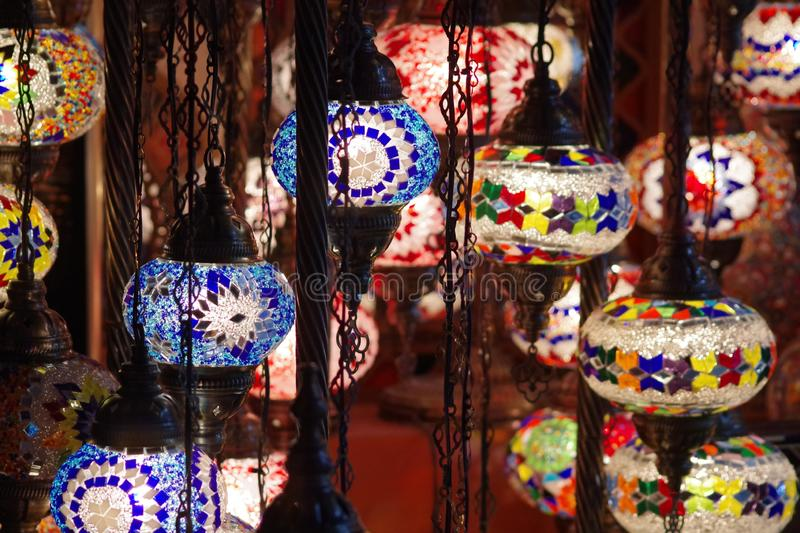 Beautiful hand made Arabic lamps and full of colors. royalty free stock photography
