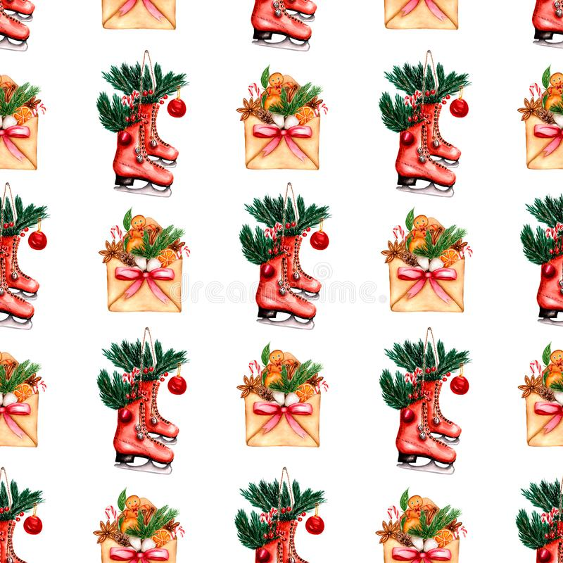 Beautiful hand painted winter holidays pattern of envelope with red ribbon and elements of  Christmas mood  and  skates with vector illustration