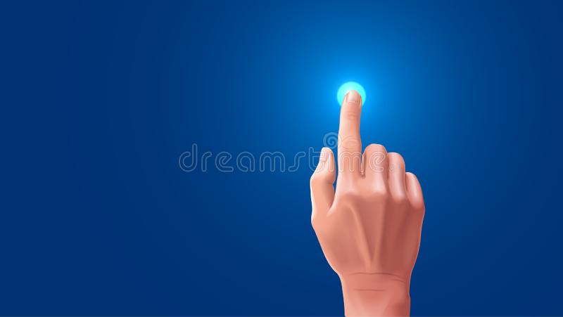 Hand presses the index finger on the touch screen. Button on the touchscreen is highlighted when tapped with your. The beautiful hand presses the index finger on vector illustration