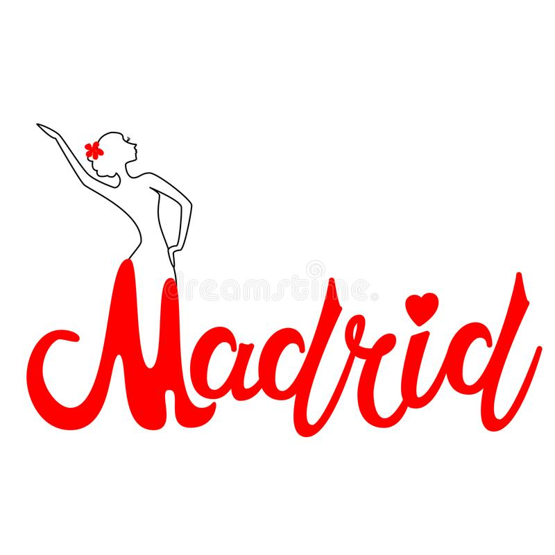 Beautiful hand written text typography design of europe european city madrid name logo with silhouette of a dancing flamenco dance royalty free illustration