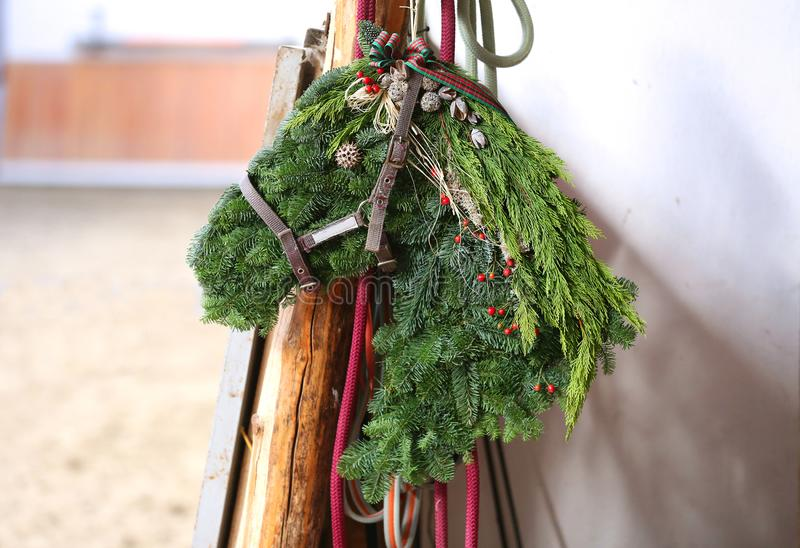 Beautiful handmade christmas gift hanging in riding hall at advent weekend royalty free stock photos