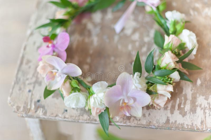 Beautiful handmade floral wreath stock images